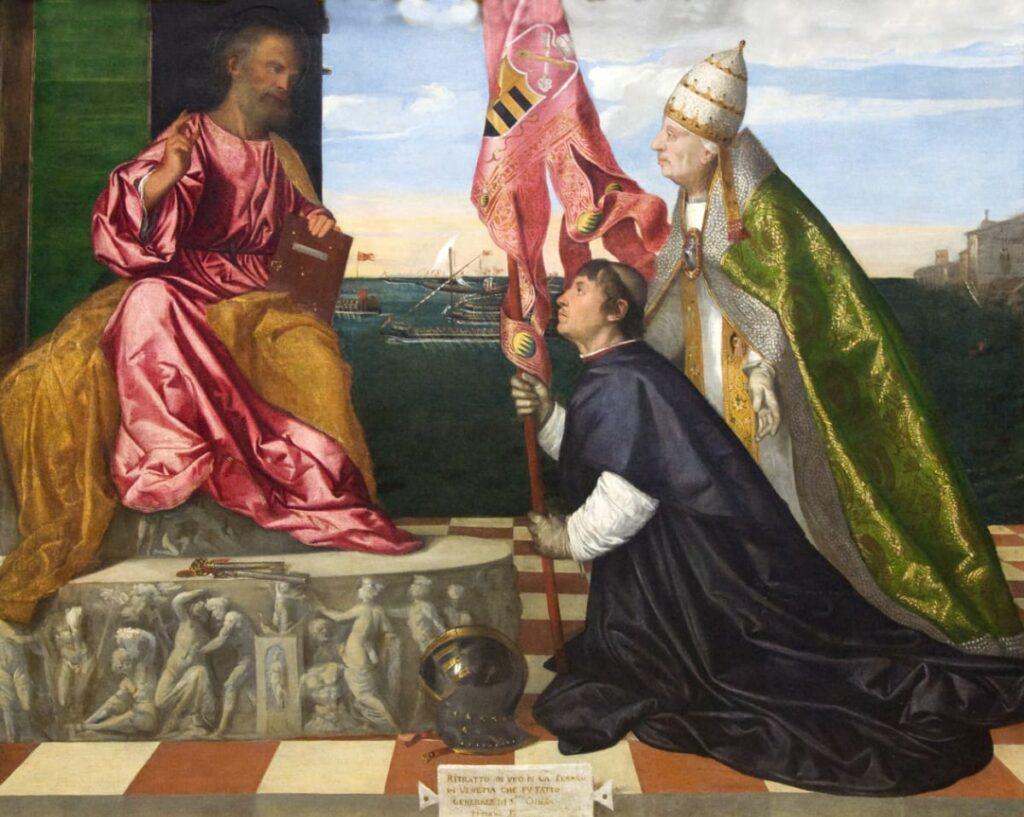 El Gran Capitán ante elPapaAlejandro VIarrastrando al derrotadoMenaldo Guerra. Zacarías González Velázquez.